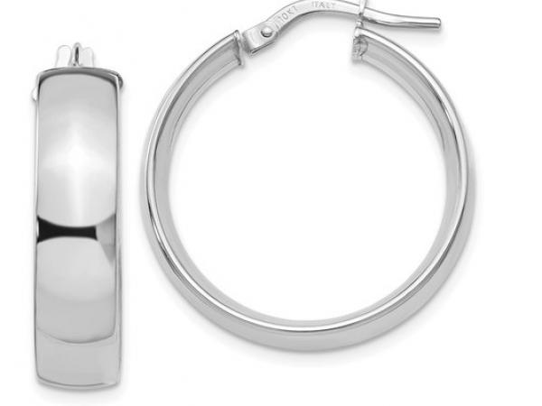 10 Karat White Gold 6mm Hoop Earrings 10le297 Earrings From Hart S