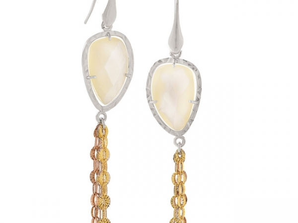 Mother of Pearl Dangle Earrings by Frederic Duclos