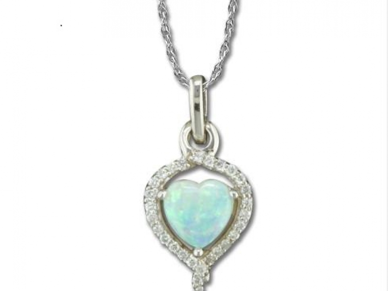 OPAL & DIAMND HEART PENDANT by Parle